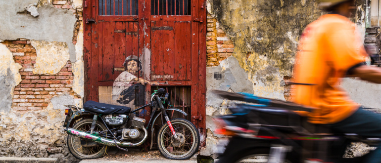 Boy On Motorcycle Wall Painting